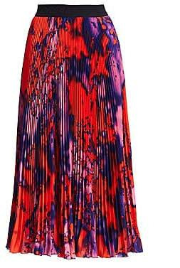 MSGM Women's Tie Dye Pleated Midi Skirt