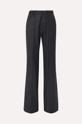 Balenciaga Pinstriped Wool And Cashmere-blend Pants - Navy
