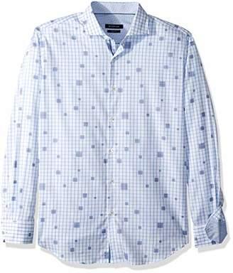 Bugatchi Men's Cut Dobby Checks Tapered Fit Spread Collar Shirt