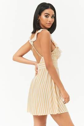 Forever 21 Ruffle-Trim Striped Mini Dress