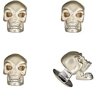 Deakin & Francis Men's Skull Shirt-Stud Set - Silver