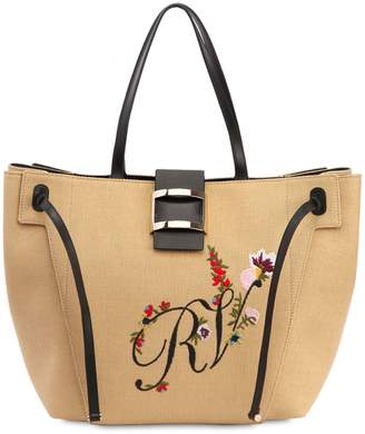Roger Vivier Large Viv' Embroidered Tote Bag