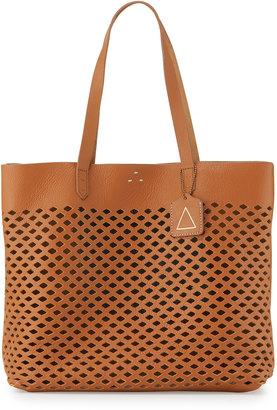 Kelsi Dagger Commuter Laser-Cut Leather Tote Bag, Cognac $170 thestylecure.com