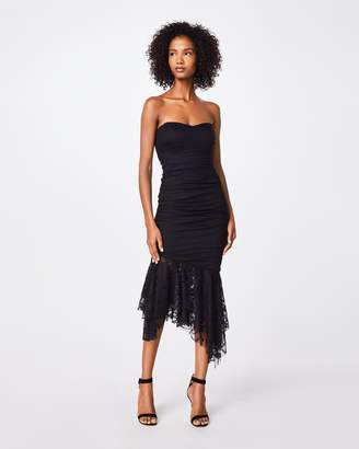 Nicole Miller Solid Cotton Metal & Lace Strapless Dress