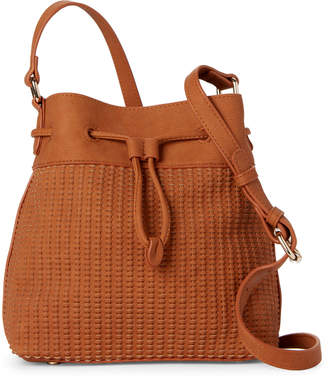 Street Level Tan Woven Bucket Bag