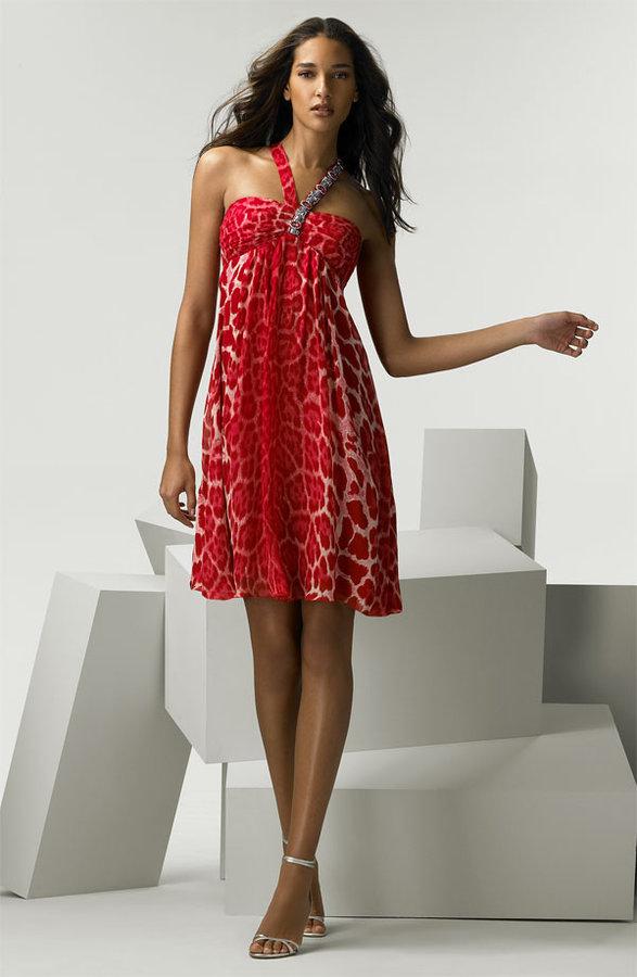 Blumarine Animal Print Silk Chiffon Halter Dress