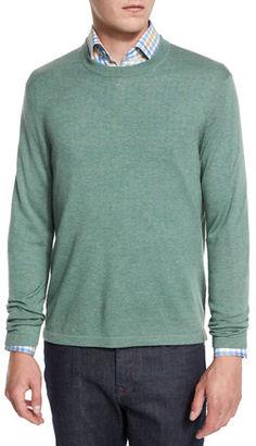 Neiman Marcus Cashmere-Silk Crewneck Sweater $195 thestylecure.com