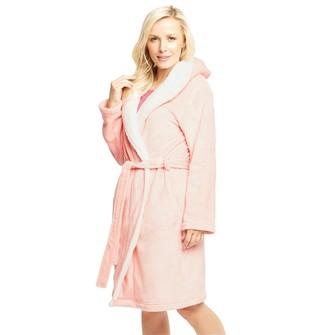 5a3546334a at MandMDirect.com · Onfire Womens Sealskin Hooded Robe Pink