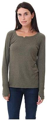 Michael Stars Women's Madison Brushed Jersey Long Sleeve Notch Neck hi Low