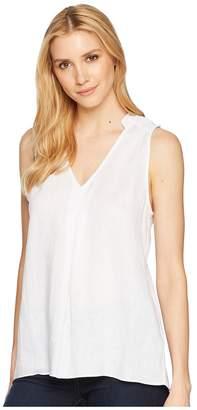 Elliott Lauren Handkerchief Linen Sleeveless Shirt with Pintuck Detail Women's Clothing