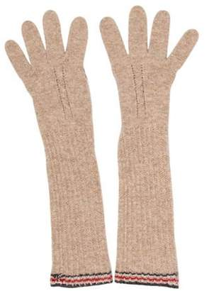 Burberry Wool Knit Gloves Tan Wool Knit Gloves