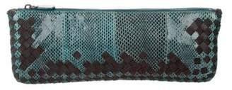 Bottega Veneta Intrecciato Snakeskin & Woven Clutch