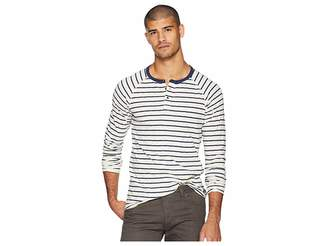 Scotch & Soda Long Sleeve Grandad T-Shirt in Slub Jersey Quality