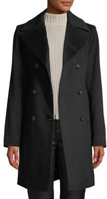 Fleurette Oversized-Collar Double-Breasted Pea Coat