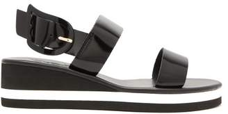 Ancient Greek Sandals Clio Rainbow Wedge Heel Patent Leather Sandals - Womens - Black