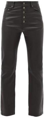 Joseph Den Leather Kick Flare Trousers - Womens - Black