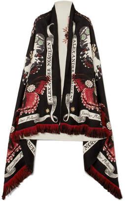 Alexander McQueen Metallic Wool-blend Jacquard Scarf - Black