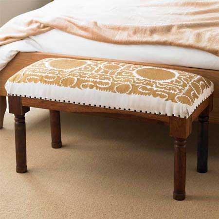 Ivory & Gold Suzani Bench