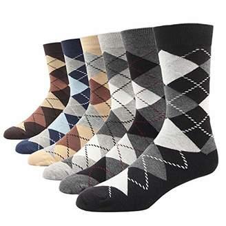 SOXART Men's Dress Socks 6 Pack Argyle Plaid Dark Color Classic Style for