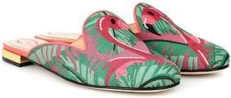 Charlotte Olympia Needlepoint flamingo slippers