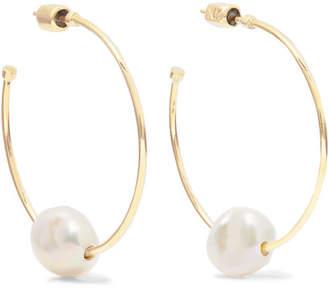 Meadowlark 9-karat Gold Pearl Hoop Earrings
