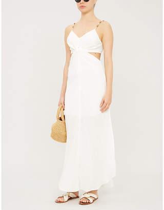 Vix Cut-out bead-embellished linen-blend maxi dress