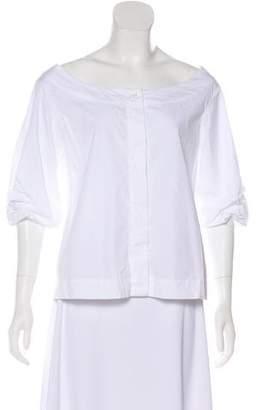 Isa Arfen Short Sleeve Button-Up Top