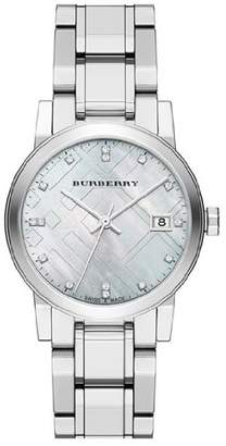 Burberry LUXURY DIAMONDS Watch Womens Girls The City Precious Stainless Steel Mother of Pearl Textured Date Dial BU9125