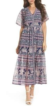 Eliza J Print V-Neck Fil Coupe Dress