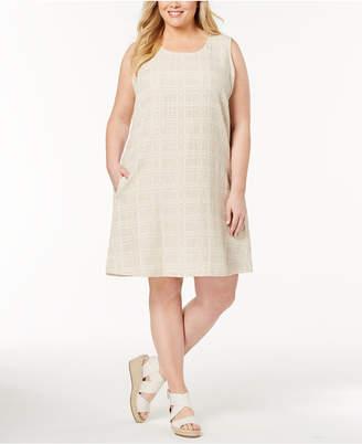 Eileen Fisher Plus Size Organic Cotton-Linen Shift Dress