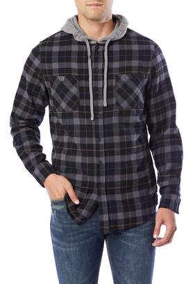 UNIONBAY Men's Switchback Flannel Hooded Button-Down Shirt