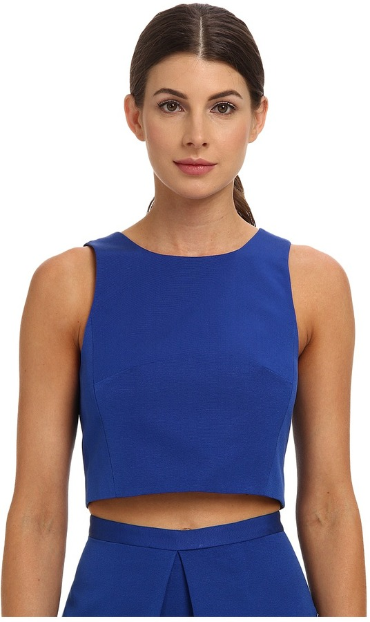 tibi Katia Faille Cropped Top Women' Sleevele