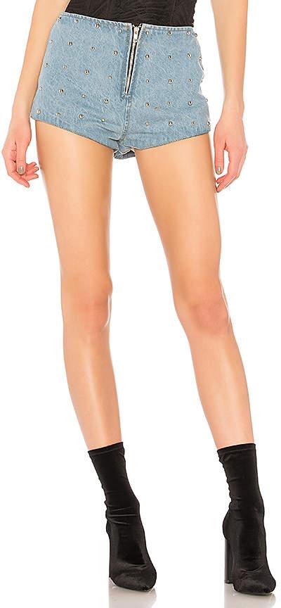 Buy Understated Leather Studded Denim High Waist Short.!