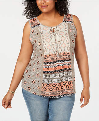 Style&Co. Style & Co Plus Size Printed Lace-Trim Sleeveless Top