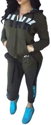 Adogirl Women's Zip-up Jacket Pants Tracksuit 2 Piece Suit Sports Jog Set XL