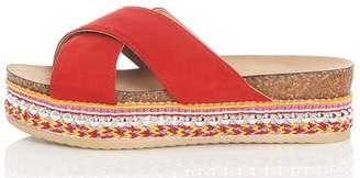 Quiz Red Strap Embellished Flatform Sandals