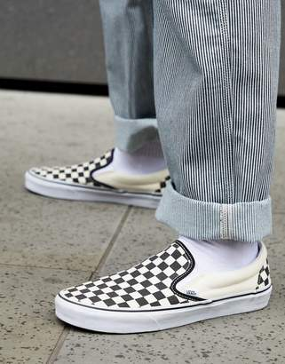e438bc8b1c Vans slip-on checkerboard plimsolls in black veyebww