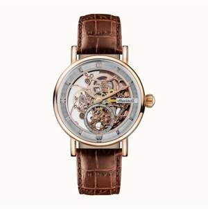 Ingersoll Herald Automatic with Rose Gold Ip Stainless Steel Case, Skeleton Dial and Brown Croco Embossed Leather Strap