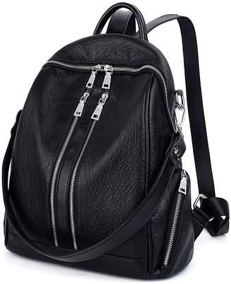 0c495b5f48 UTO Women Backpack Purse PU Washed Leather Convertible Ladies Rucksack  Zipper Pockets Crossbody Shoulder Bag CA