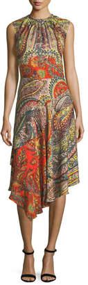 Etro Floral-Print Dress with Metallic Grid