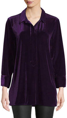 Joan Vass 3/4-Sleeve Side-Slit Relaxed Velvet Tunic Shirt, Plus Size