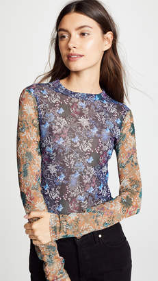 Yigal Azrouel Floral Printed Stretch Mesh Top
