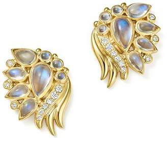 Temple St. Clair 18K Yellow Gold Diamond and Royal Blue Moonstone Wing Earrings