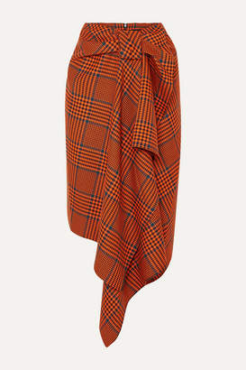 House of Holland Knotted Asymmetric Prince Of Wales Checked Wool-blend Midi Skirt - Orange