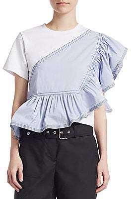 3.1 Phillip Lim Women's Short-Sleeve Ruffle Jersey Peplum Tee
