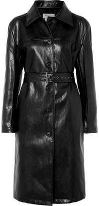 we11done Belted Faux Leather Coat - Black