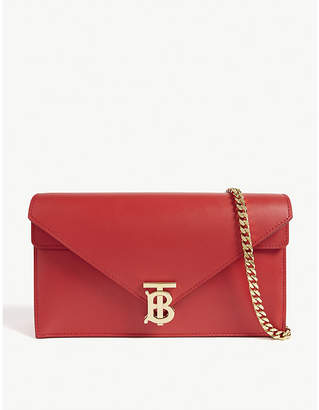 Burberry TB-logo leather envelope clutch
