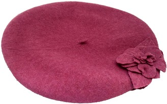 Co San Diego Hat Wool Beret with Flowers