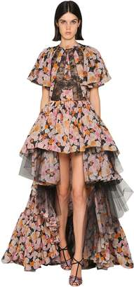 Giambattista Valli PRINTED CHIFFON & TULLE DRESS
