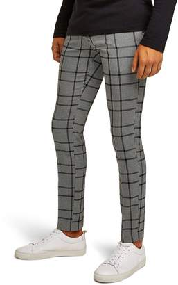 Topman Check Skinny Fit Trousers